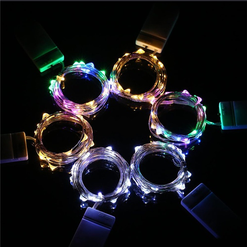 Led String Lights 2M 20leds CR2032 Battery Power Operated Copper Wire Fairy Lights For DIY Christmas Home Garland Bar Decoration