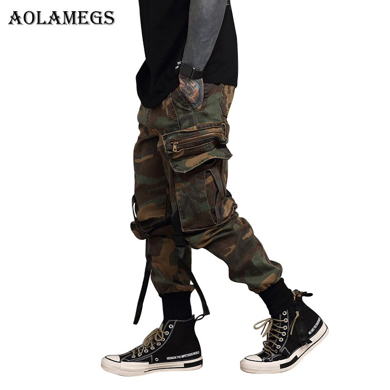 Aolamegs Pants Men Cargo Military Pants Track Pants Male Trousers Elastic Waist Casual Fashion High Steet Joggers Sweatpants ...
