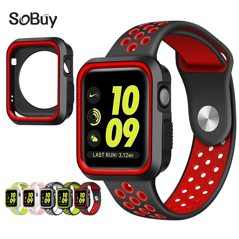 So buy protective case 38mm Silicon Sports Band link wrist Strap for Apple Watch iwatch 42mm rubber Bracelet Series 3 2 1 shell