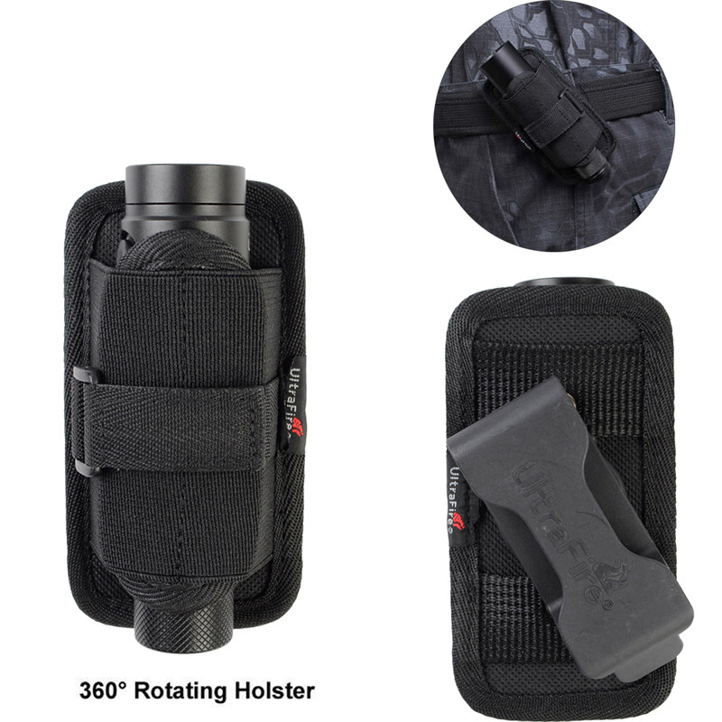 Outdoor Hunting Flashlight Pouch Holster 360 Degrees Rotatable Torch Case for Belt Torch Cover Black Pouch Fit for 501B/502B
