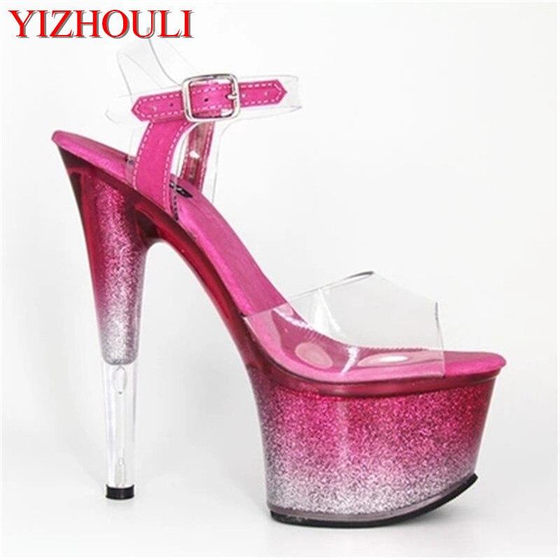 04fd149a41eb12 Transparent platform sexy novelty gradient waterproof platform crystal shoes