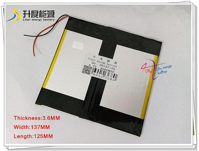 3.7V 8000mAH 36137125 Polymer lithium ion / Li-ion battery for tablet pc,cell phone,POWER BANK,PIPO