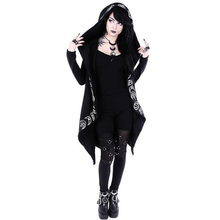 Punk style moon print long-sleeved hooded cardigan long loose type super large size fleece cotton sweater free shipping