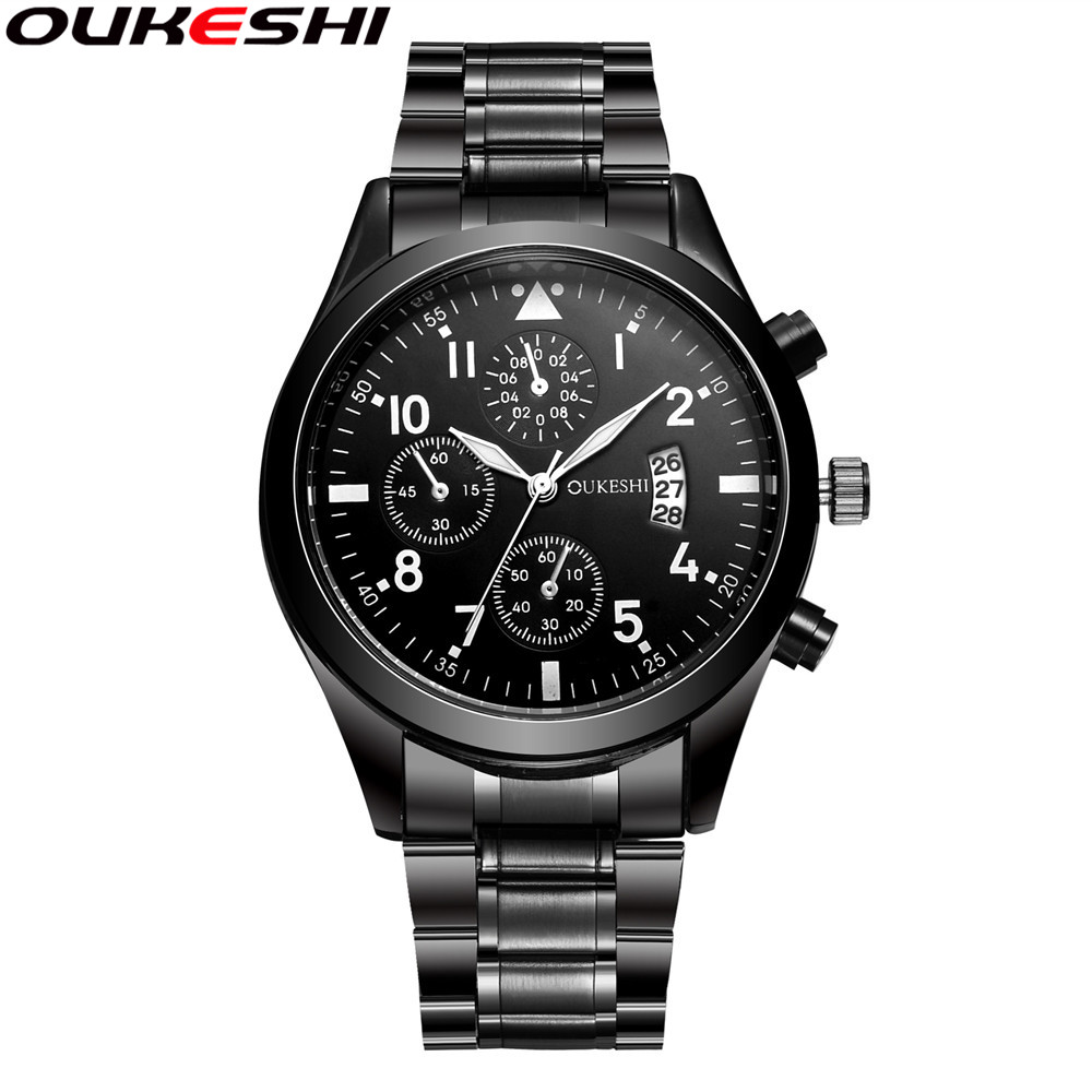 Calendar Function Watches Brand OUKESHI New Arrival Business Men Stainless Steel Quartz Wristwatches Relogio Masculino OKS27