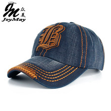 Высокое качество, и розничная, кепка JoyMay с вышитой надписью B, удобная Кепка, джинсовые хлопковые шапки, бейсболка B148