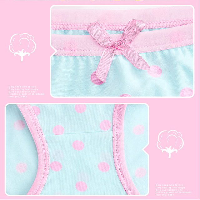 kids cotton panties underwaer girls female cartoon printed child baby comics pants Bowknot briefs underwear for girls 3-12 year