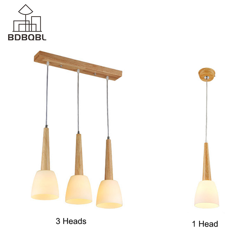 BDBQBL 1/3 Heads Wood Pendant Lamp Modern E27 Holder Pendant Lights LED Home Light Fixtures for Bedroom Dining Room HanglampBDBQBL 1/3 Heads Wood Pendant Lamp Modern E27 Holder Pendant Lights LED Home Light Fixtures for Bedroom Dining Room Hanglamp