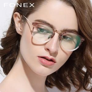 Image 2 - FONEX Reines Titan Brille Rahmen Männer Vintage Runde Ultraleicht Brillen Rezept Myopie Optische Frauen Acetat Brillen 9132