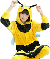Adults Flannel Pajamas Unisex Onesies Bee Cosplay Costume Homewear All In One Jumpsuits Cosplay Bee Onesies