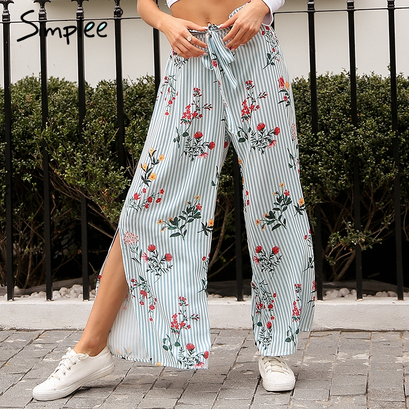 c9cf6a91dd Simplee Split floral print wide leg pants women Loose casual pants capri  Sash high waist pants summer trousers 2018