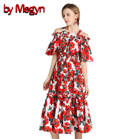 by Megyn bohemian runway dress beach dresses summer 2018 women sexy off shoulder floral print elegant tunic party dresses