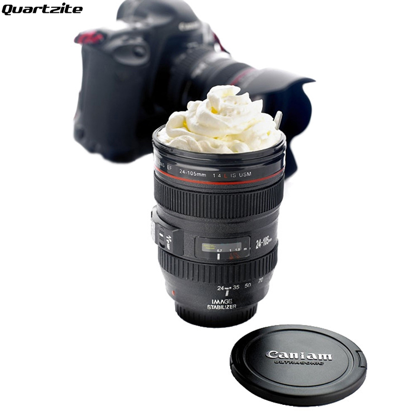 New Coffee Lens Emulation Camera Mug Beer Water Coffee Tea Camera Lens With Lid Gift