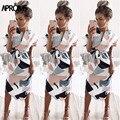 Aproms Sexy Multi COLOR DE Camiseta de cuello V vestido de las mujeres 2019 Boho de verano de manga corta Midi vestido Casual Streetwear vestido Vestidos