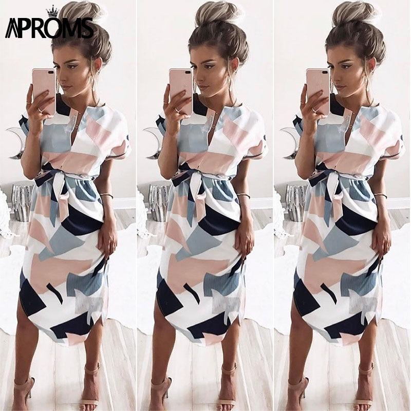 Aproms Sexy multi gekleurde v-halsjurk Jurk Dames 2018 Boho korte mouw zomer Midi-jurk Casual Streetwear zonnejurk vestidos