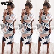 Aproms Sexy Multi Colored V Neck Shirt Dress Women 2019 Boho Short Sleeve Summer Midi Dress Casual Streetwear Sundress Vestidos