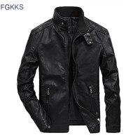 FGKKS Men Leather Jacket Autumn Fashion Brand High Quality PU Casual Biker Jacket Male Leather Jacket Coat