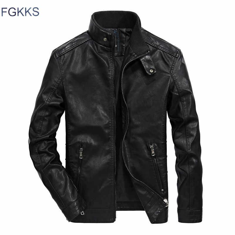FGKKS мужская кожаная куртка Осенняя Модная брендовая высококачественная повседневная байкерская куртка из искусственной кожи мужская кожаная куртка пальто