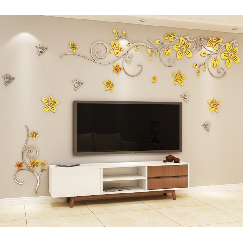 3d miroir Surface Stickers muraux maison salon chambre décoration fleur Stickers Art acrylique miroir autocollant arbre Mural affiche