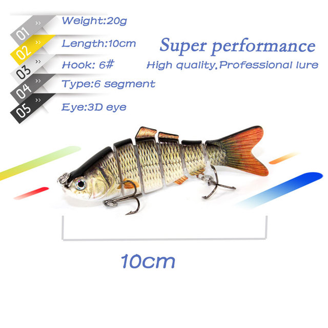 1PCS Fishing Lure Multi Jointed Hard Bait 10cm 19.3g Lifelike joint bait Wobblers 6 Segments Swimbait Fishing Lure Crankbait