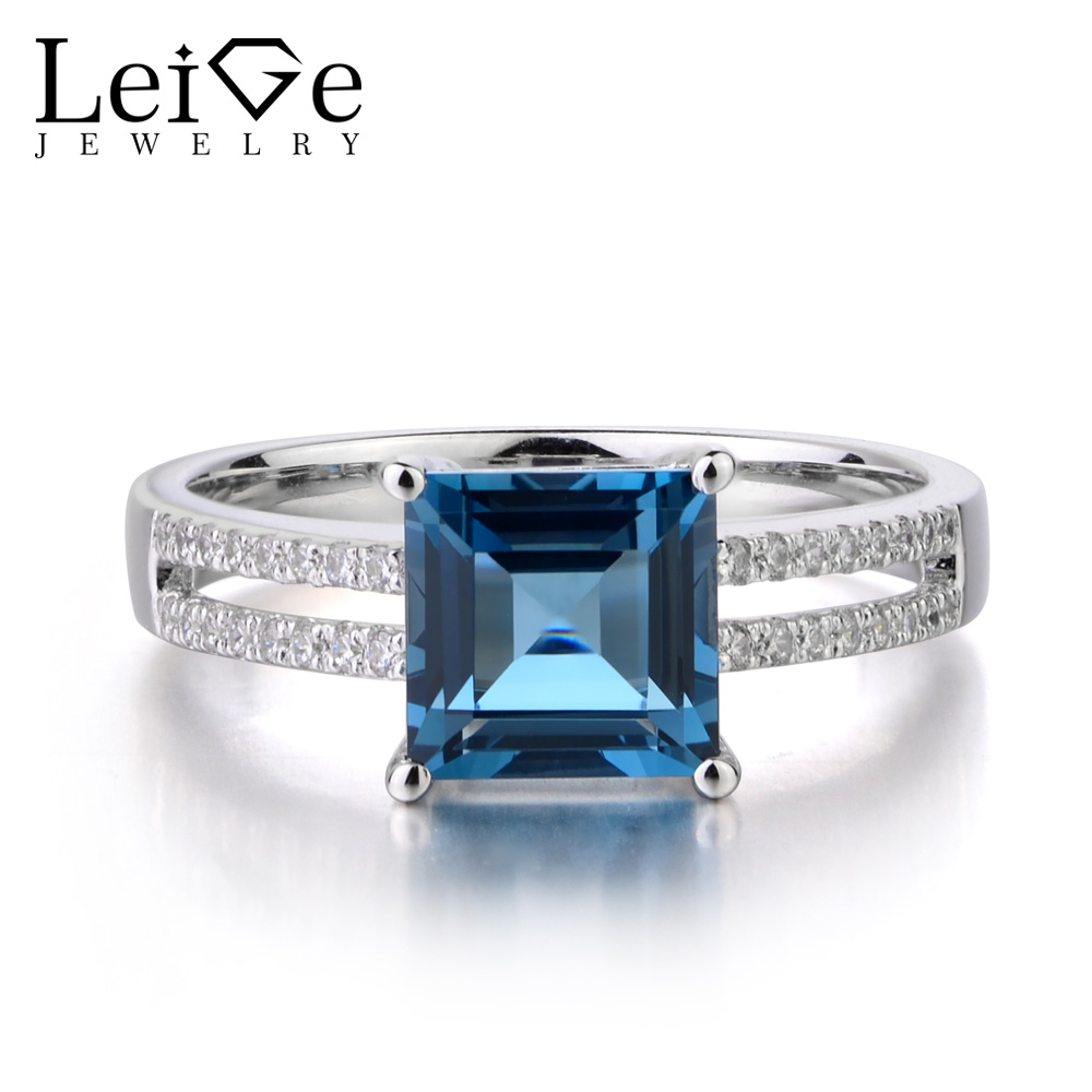 Здесь продается  Leige Jewelry London Blue Topaz 925 Sterling Silver Ring Princess Cut Gemstone November Birthstone Engagement Rings for Her  Ювелирные изделия и часы
