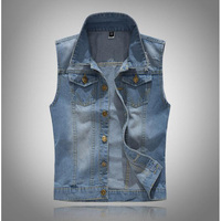 New Fashion Mens Denim Vest Sleeveless Washed Jackets Jeans Waistcoat Male Jacket Big Size S 6XL SHIERXI