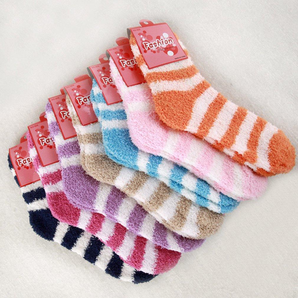 Inverno quente meias moda listrado coral veludo macio cama piso meias fofo quente meias meninos meninas meias casuais