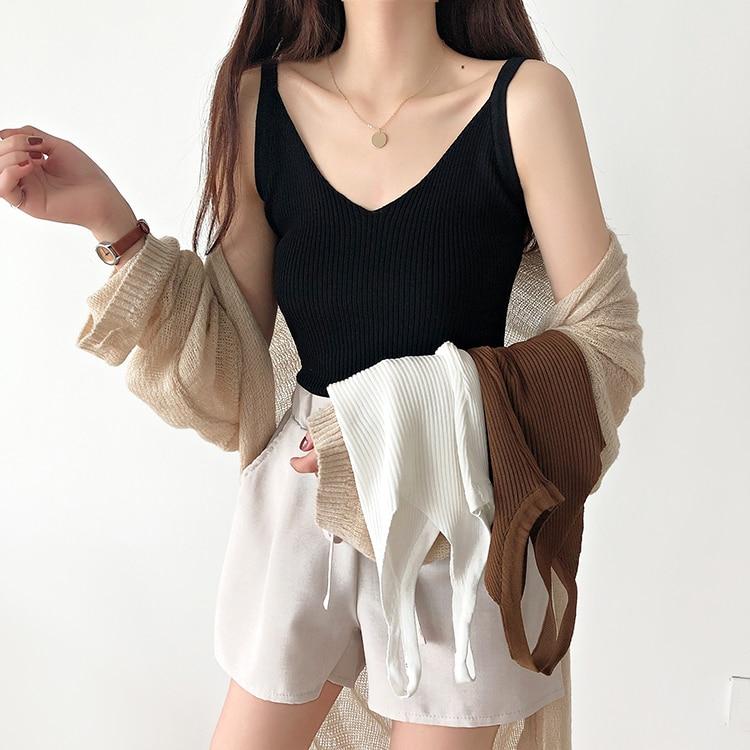 Women   Tank   solid V-neck Camis Female Knitted Short Slim Sleeveless Shirt   Tank   Casual   Tops   women   tank     top