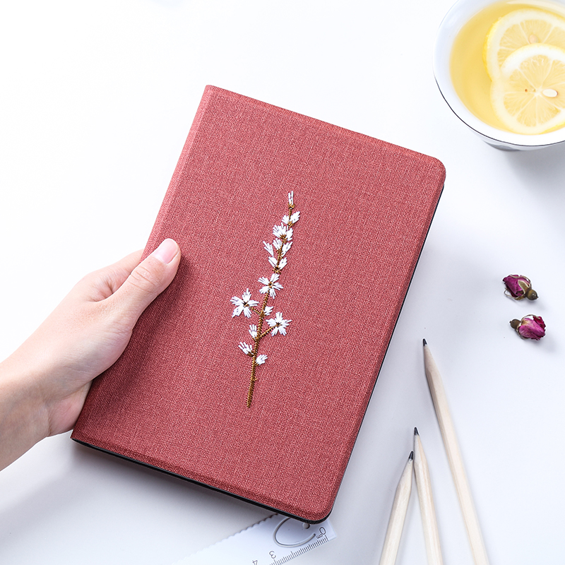 Universal Auto Sleep/ Wake Up Fabric Floral Back Slim Smart Cover For Ipad Air 2 Air 1
