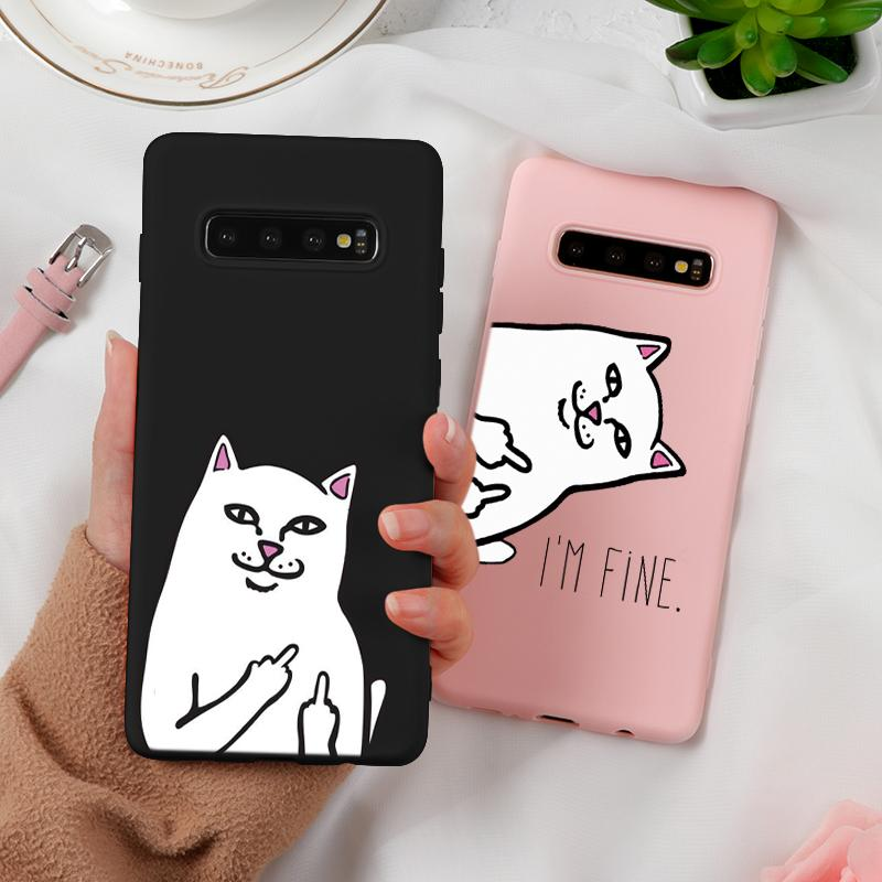 <font><b>Cat</b></font> Middle Finger Funny Cartoon <font><b>Case</b></font> Soft For <font><b>Samsung</b></font> <font><b>Galaxy</b></font> A7 <font><b>2018</b></font> A9 <font><b>A8</b></font> A6 Plus A5 2017 2016 J7 J4 Plus J6 J3 J5 Prime Cover image
