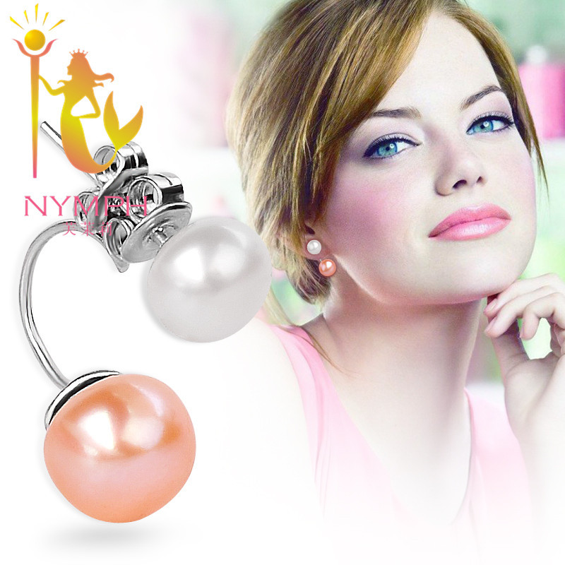 High quality NYMPH Real freshwater pearl stud earrings jewelry double 925 sterling silver fine jewelry earrings