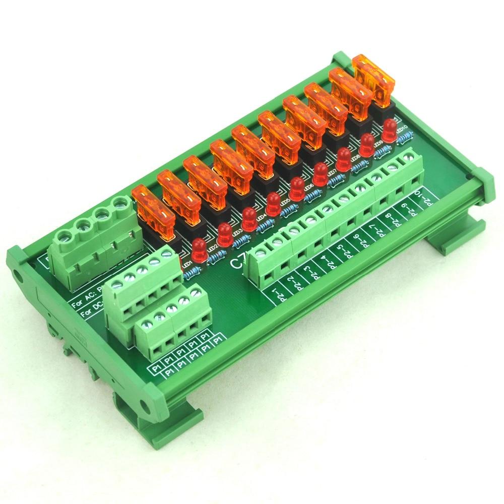 DIN Rail Mount 10 Position Power Distribution Fuse Module Board, For AC/DC 5~32V.DIN Rail Mount 10 Position Power Distribution Fuse Module Board, For AC/DC 5~32V.