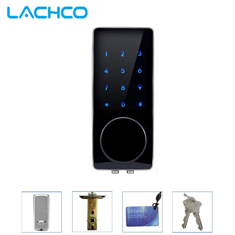 LACHCO elektroniczny zamek do drzwi hasło, 2 karty, 2 przyciski mechaniczne ekran dotykowy klawiatura cyfrowa blokada zamek szyfrowy inteligentne wejścia L16076BS w Zamki elektryczne od Bezpieczeństwo i ochrona na AliExpress - 11.11_Double 11Singles' Day 1