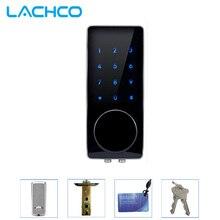 LACHCO elektronik dış kapı kilidi Şifre, 2 Kart, 2 Mekanik Tuşlar Dokunmatik Ekran Tuş Takımı Dijital Kod Kilidi Akıllı Giriş L16076BS