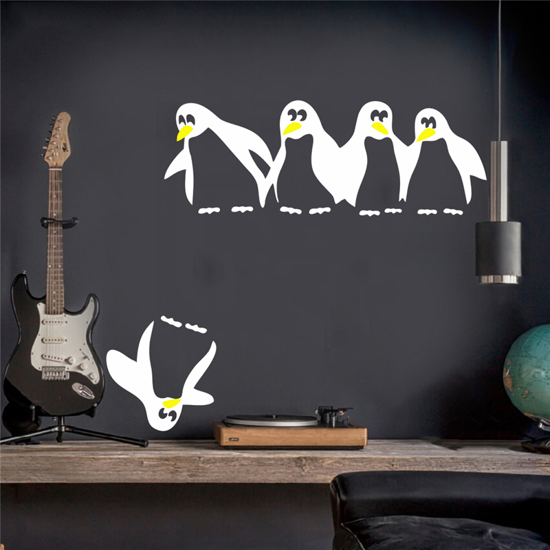 Funny FIVE penguin kitchen fridge sticker kids room decals dining room kitchen decorative wall stickers home decor