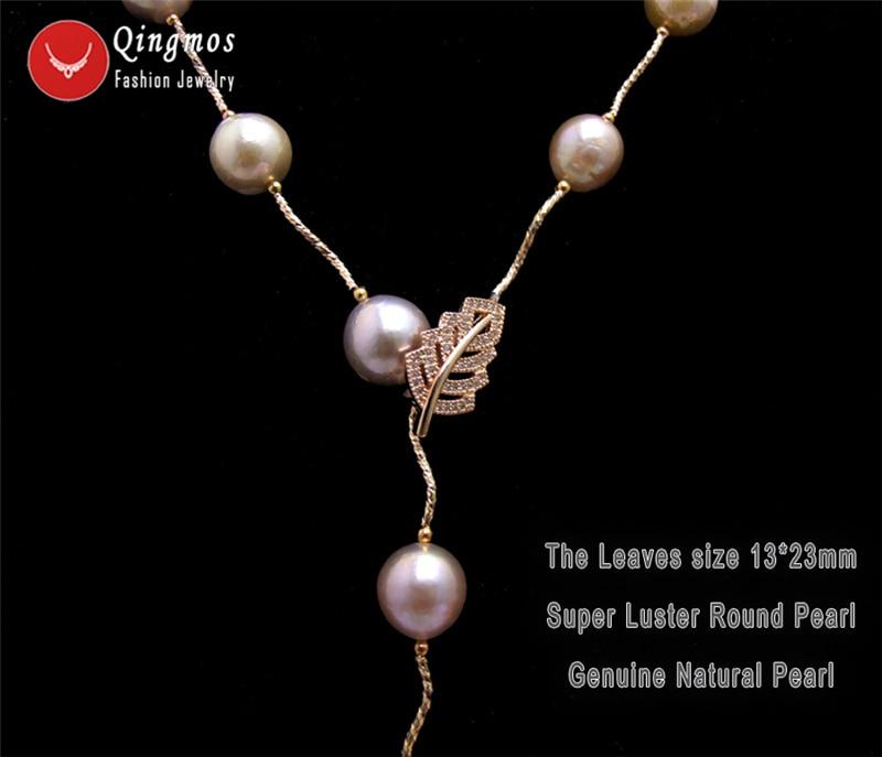 Qingmos Rose Gold Natural Round 11-12mm Purple Edison Pearl 33