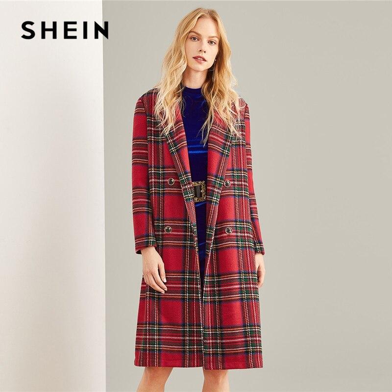 Шеин многоцветный двубортный водопад плед удлиненный пальто элегантный карман по колено верхняя одежда для женщин осень тренчи для