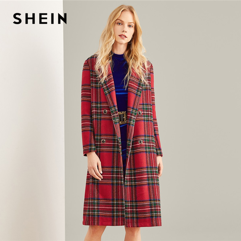 SHEIN Multicolor Double Breasted Waterfall Plaid Longline Coat Elegant Pocket Knee Length Outerwear Women Autumn Trench Coats