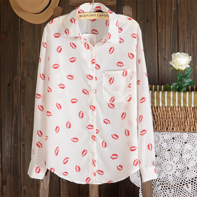 88ad5136 S XL,Blouses 2016 New Women Hot Sale Brand Design High Street Elegant Lips  Print Chiffon Blouse Shirt,black;white office blouse-in Blouses & Shirts  from ...