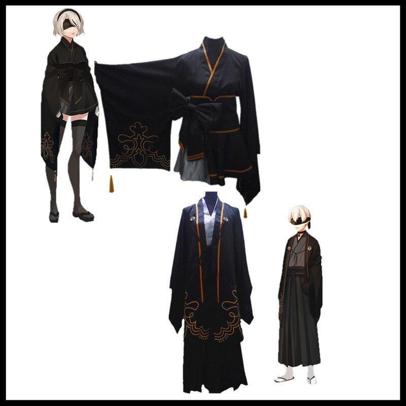 Game NieR:Automata 2B 9S Yorha Fanart Cosplay Cotumes Haori Kimono Full Set adult for women men