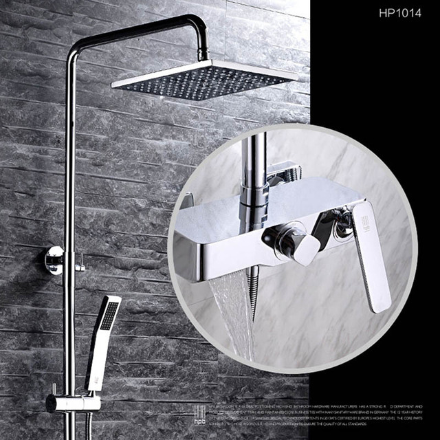 HBP Bath Tub Faucet With Slide Bar Wall Mounted Shower Set Mixer Tap 15M Hose