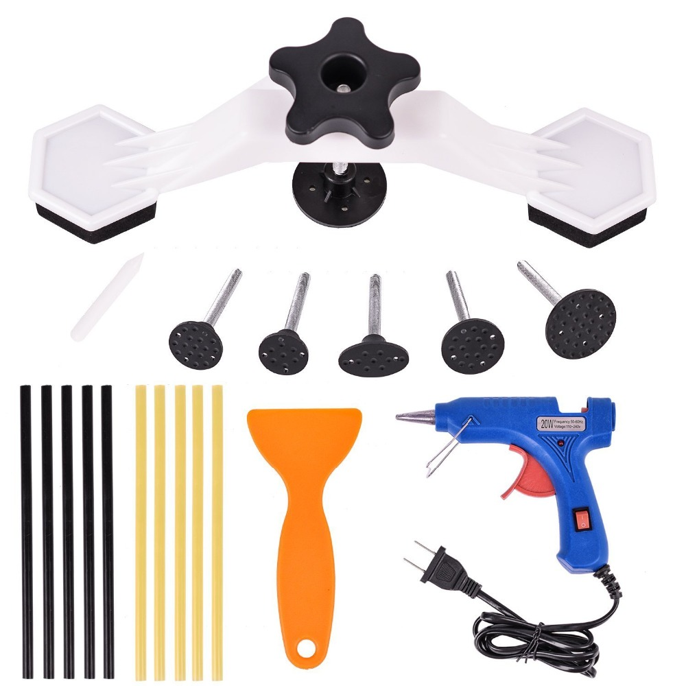 PDR Tools Pops A Dent Bridge Dent Puller Kit With Hot Melt Glue Gun Glue Sticks For Car Body Dent Repair