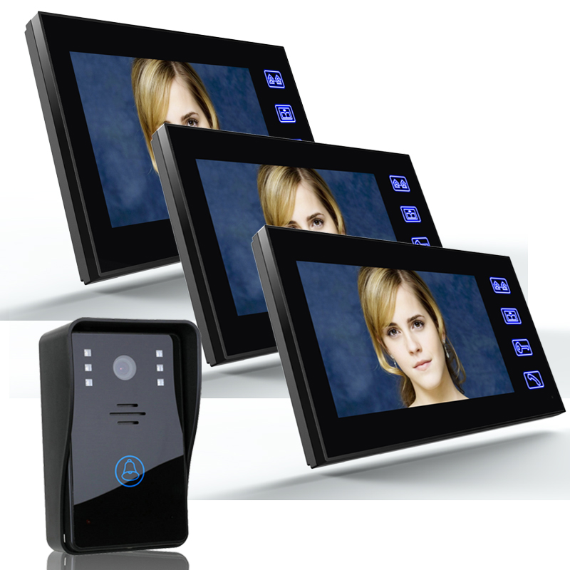 Wired 7 Color Video Door Phone Intercom System 3 Monitor Doorbell Camera Intercom Camera for Apartment