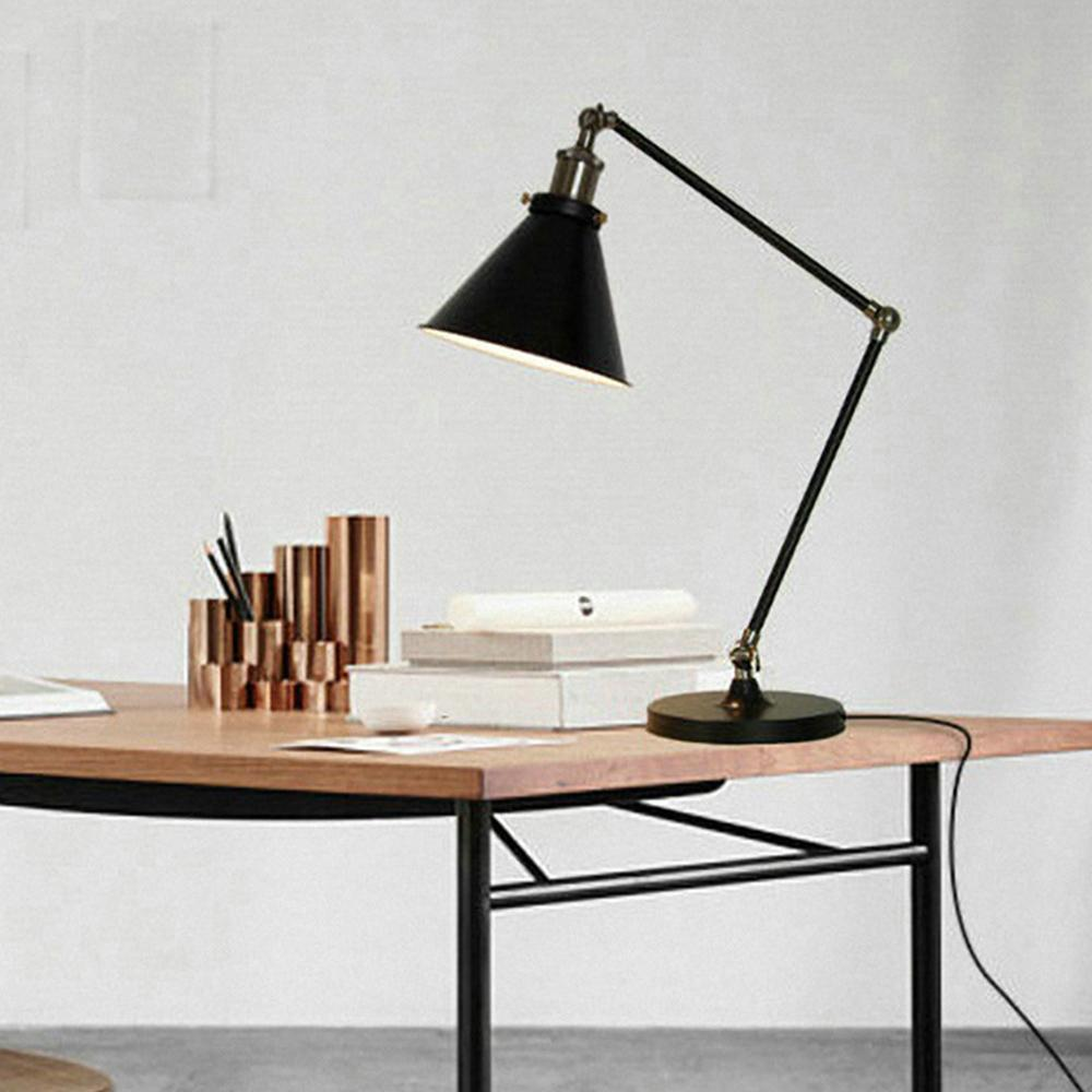 Modern Swing Arm Iron Table Lamps Personalized Classic Black