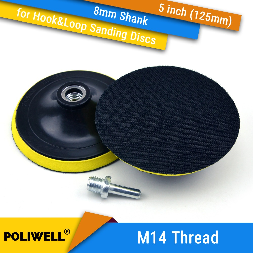 5 Inch(125mm) M14 Thread Back-up Sanding Pad + 8mm Shank For 5