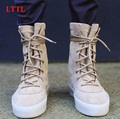 LTTL Fashion Cool Taupe Suede Thick Bottom Crepe Men's Boots Justin Bieber Style Men Casual Shoes Lace-Up Men Ankle Boots