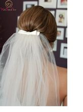 2019 Simple Short Tulle Wedding Veils Elegant Cheap White/ Ivory With Bow Bridal Veil for Accessories Comb