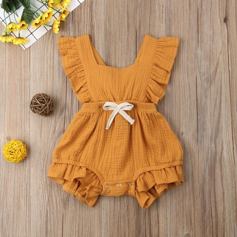 Милый Одноцветный комбинезон с оборками для маленьких девочек, 6 цветов, комбинезон, летний костюм для новорожденных, детская одежда