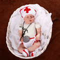 Newborn crochet doctor costume baby photo prop outfit  hat+diaper+shoes+stethoscope hand knitted kids costume baby shower gift