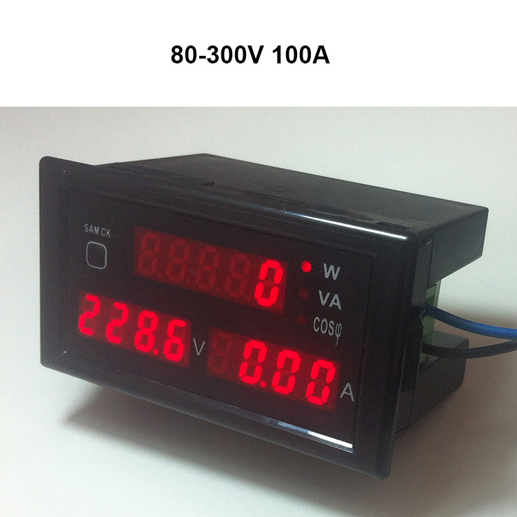 AC 80-300V 0-100A voltage amp power meter monitor with red led display ampere volt active apparent power power factor CT