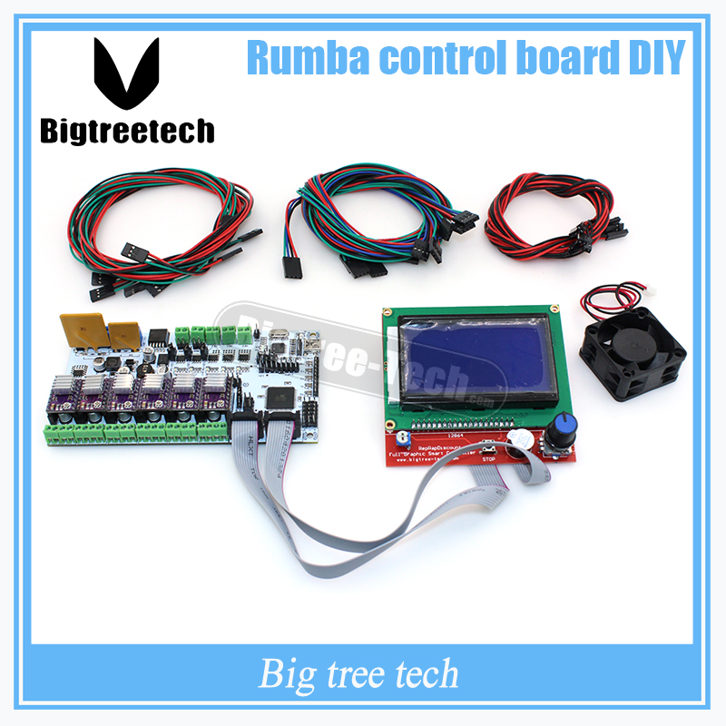 BIQU Rumba control board DIY+LCD 12864 controller display +jumper wire +DRV8825 Stepper motor driver for reprap 3D printer 3d printer driver controller rumba  usb cable